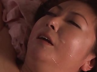 Son visit Japanese mommy at night to fuck her pussy