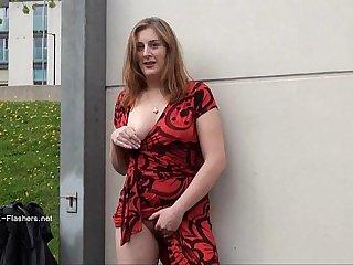 Longhaired redhead Jannas public masturbation and outdoor milf flashing the stre