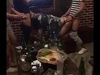 Chinese girl from dating119.com  is fucked by two men in ktv because she is drunk