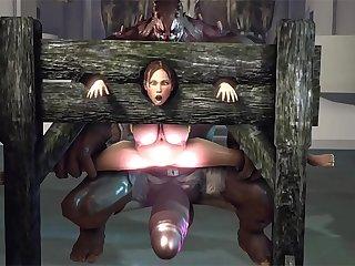 SFM sheva kasumi monster fuck with huge dildo and cum