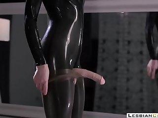 LesbianCUMS.com в‡Ё Latex Milf Masturbation Strapon Orgasm