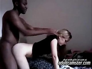 Blonde girl sucks and fucks african dude on webcam