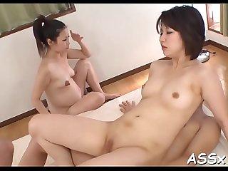 Uncouth japanese anal gang bang