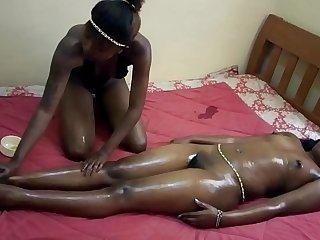 real ebony teen lesbian oil massage finger fucking