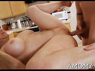 Throbbing ramrod rams mature pussy