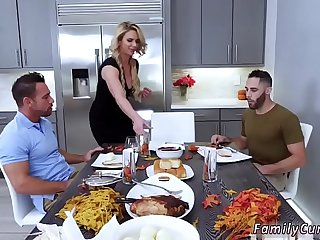 Family strokes game night full scene and friend's daughter foot job