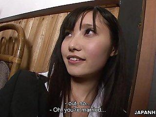 Asian brunette sucking hard on a fat dick