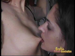 Slim redhead hottie enjoys having some bondage fun with a brunette looker