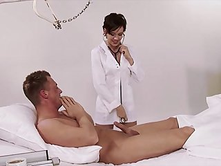 German, nurse, uniform, hospital, big natural tits, brunette, high heels, big co