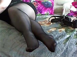 BBW Pantyhose Foot Play